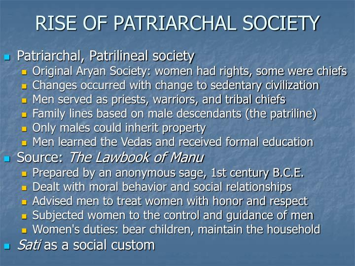 RISE OF PATRIARCHAL SOCIETY