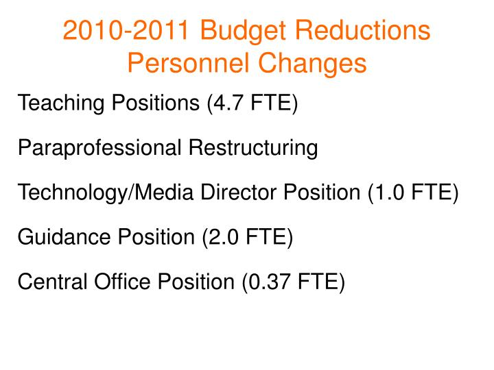 2010-2011 Budget Reductions