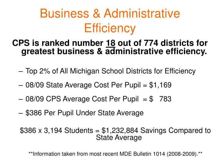 Business & Administrative Efficiency