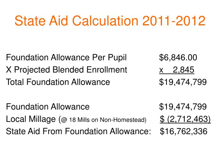 State Aid Calculation 2011-2012