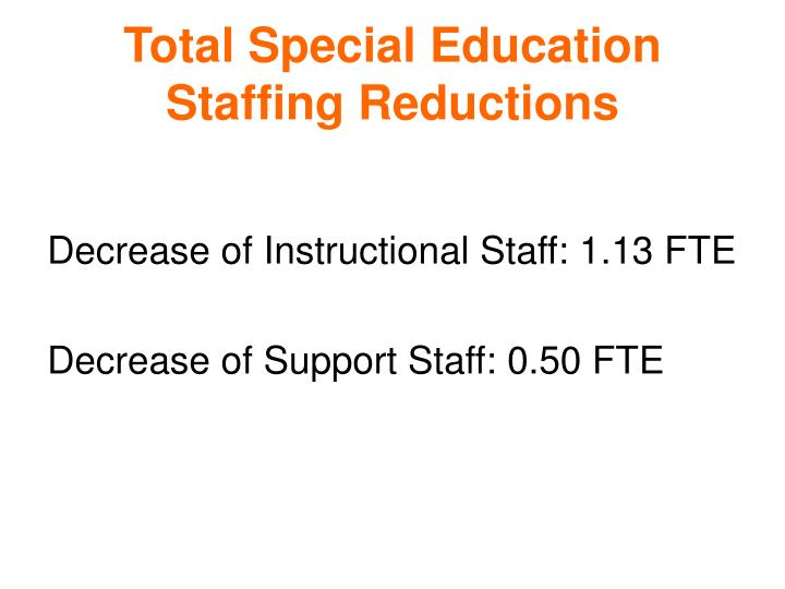 Total Special Education Staffing Reductions