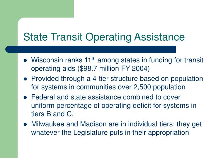 State Transit Operating Assistance
