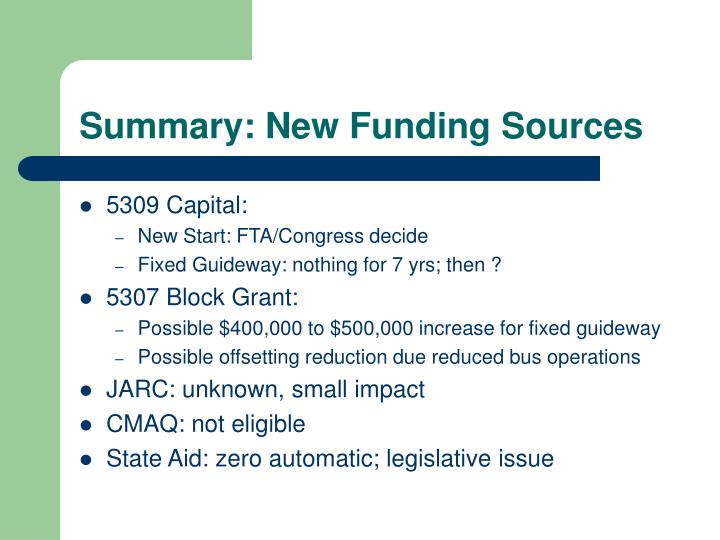 Summary: New Funding Sources