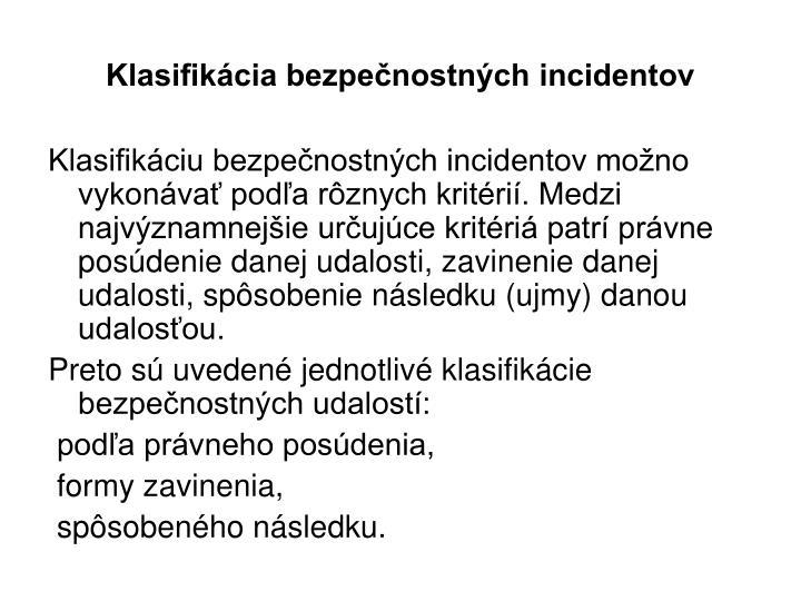 Klasifikácia bezpečnostných incidentov