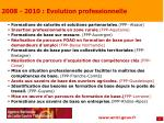2008 2010 evolution professionnelle