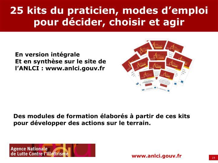 25 kits du praticien, modes d'emploi pour décider, choisir et agir