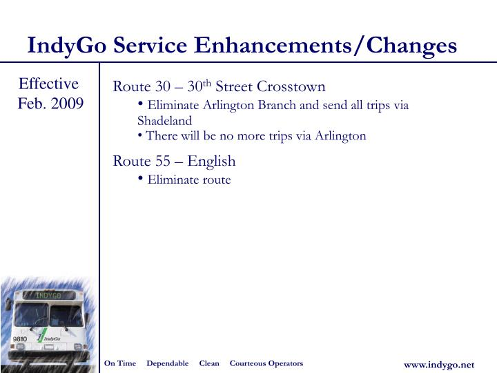 IndyGo Service Enhancements/Changes