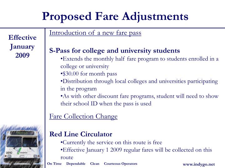 Proposed Fare Adjustments
