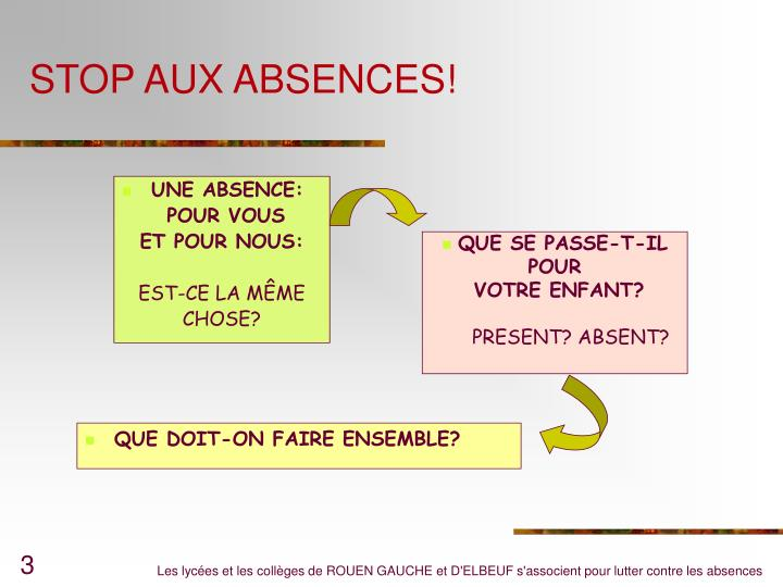 UNE ABSENCE:
