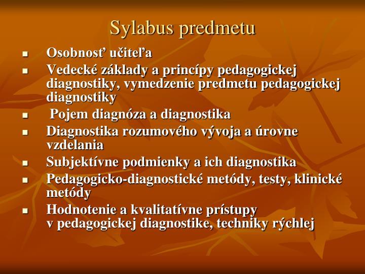 Sylabus predmetu