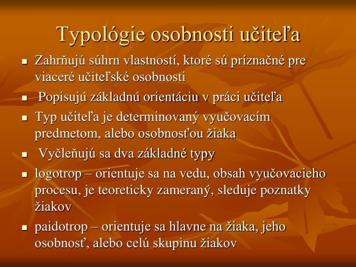 Typológie osobnosti učiteľa
