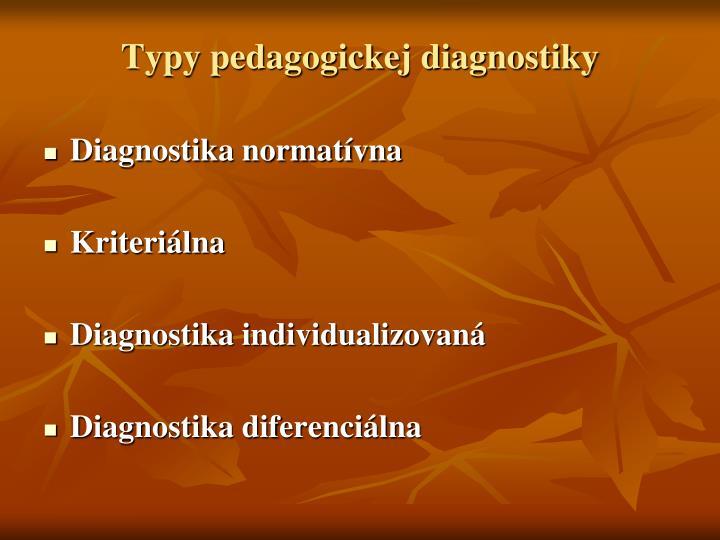 Typy pedagogickej diagnostiky