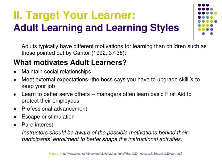 adult learning style resources