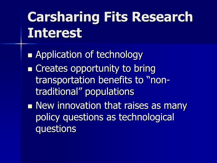 Carsharing Fits Research Interest