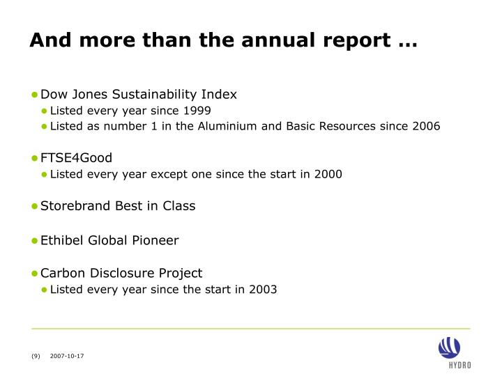 And more than the annual report …