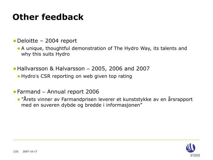 Other feedback