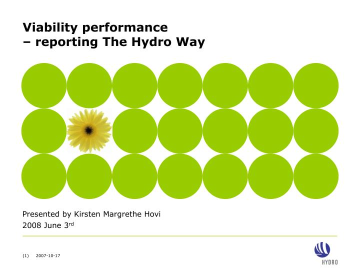 Viability performance reporting the hydro way