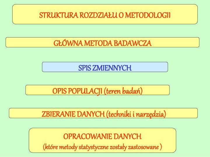 STRUKTURA ROZDZIAŁU O METODOLOGII