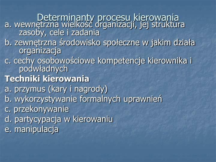 Determinanty procesu kierowania