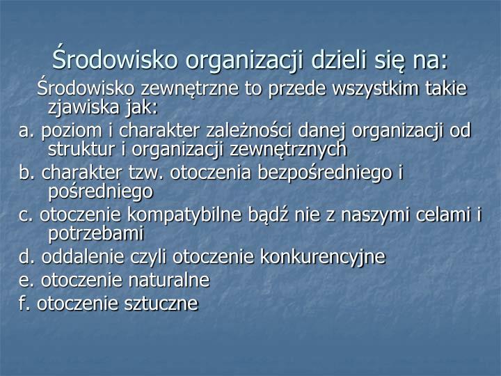 Środowisko organizacji dzieli się na: