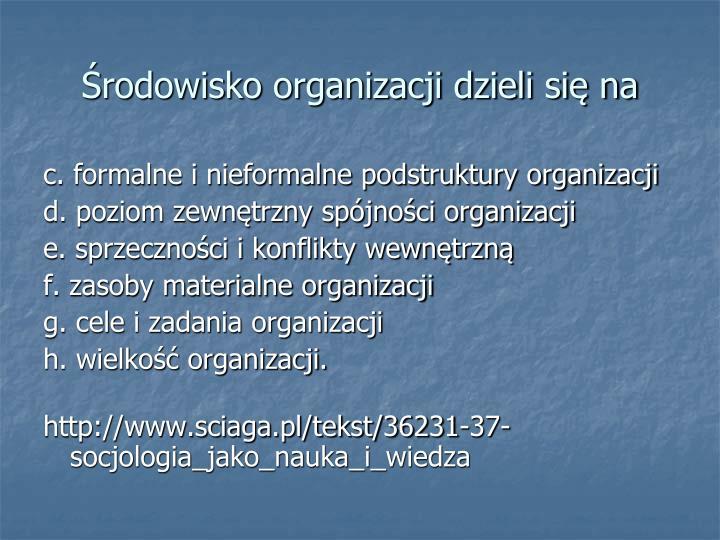 Środowisko organizacji dzieli się na