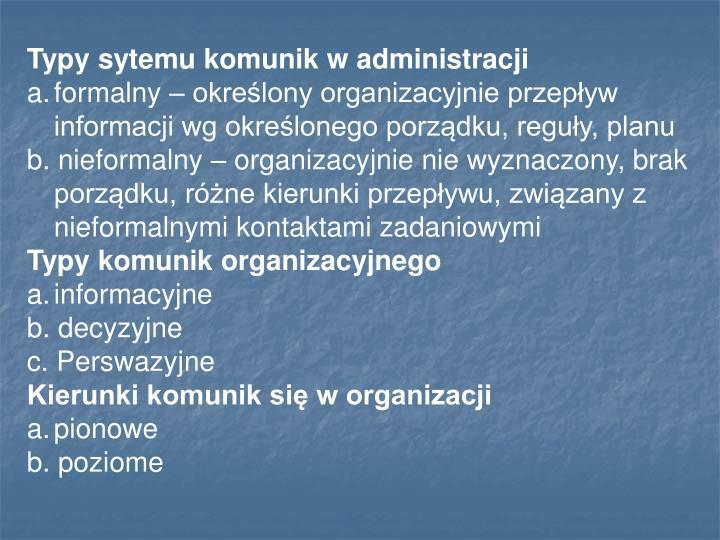 Typy sytemu komunik w administracji