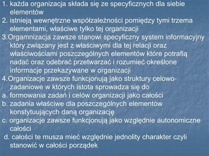każda organizacja składa się ze specyficznych dla siebie elementów