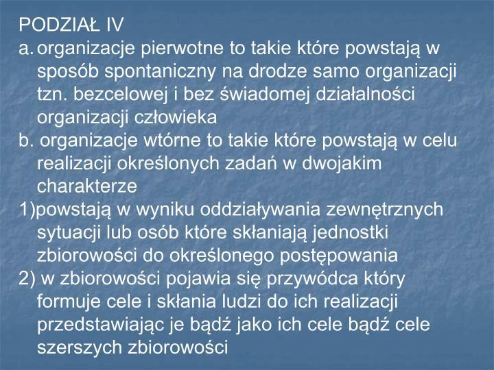 PODZIAŁ IV