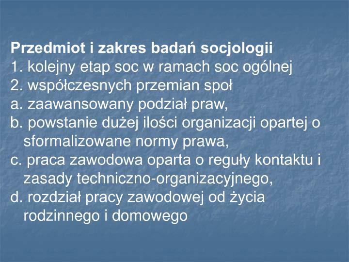 Przedmiot i zakres badań socjologii