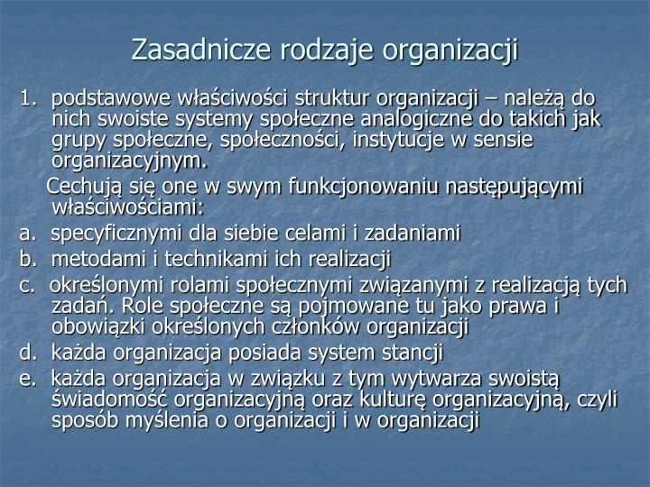 Zasadnicze rodzaje organizacji