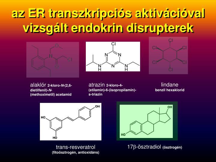 az ER transzkripciós aktivációval   vizsgált endokrin disrupterek
