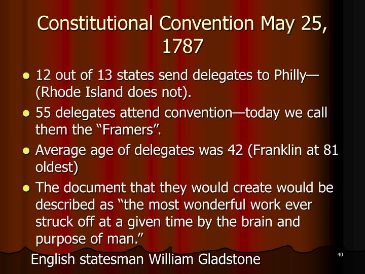 Constitutional Convention May 25, 1787