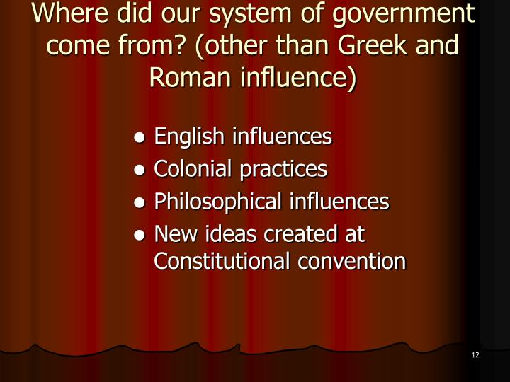 Where did our system of government come from? (other than Greek and Roman influence)