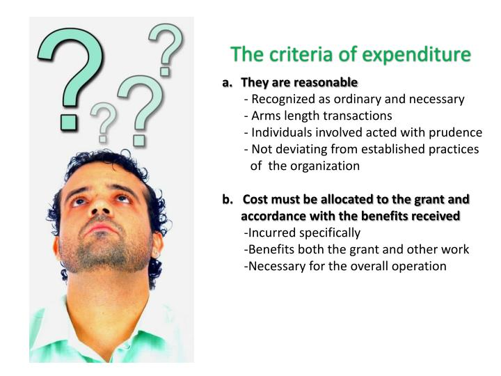The criteria of expenditure