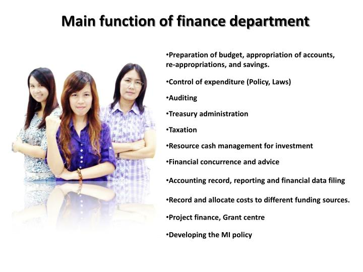 Main function of finance department