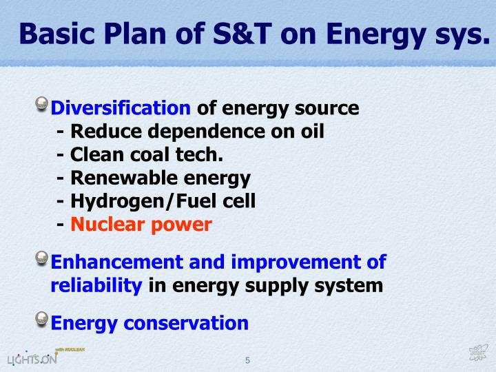 Basic Plan of S&T on Energy sys.