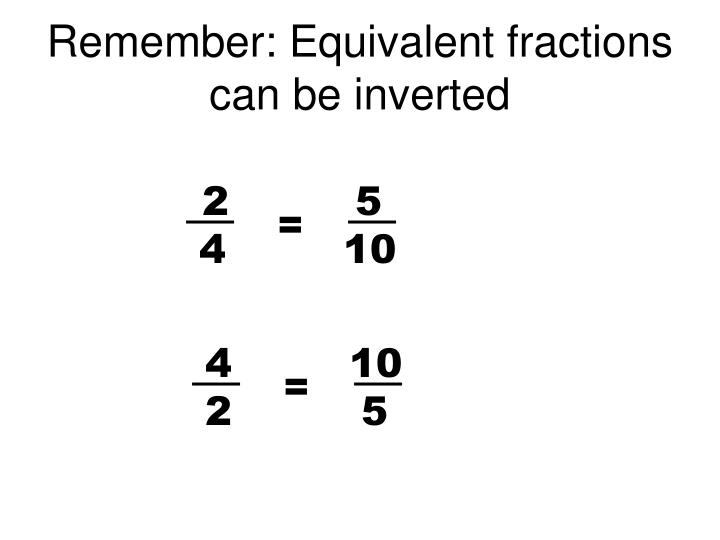 Remember: Equivalent fractions can be inverted