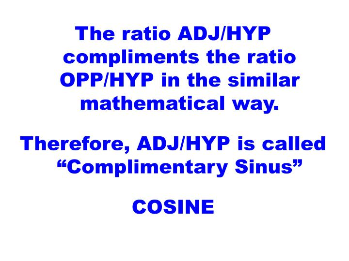 The ratio ADJ/HYP compliments the ratio OPP/HYP in the similar mathematical way.
