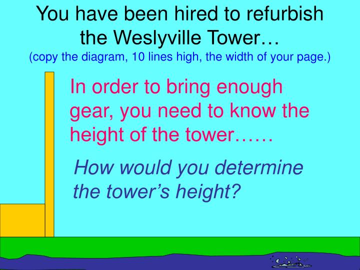 You have been hired to refurbish the Weslyville Tower…
