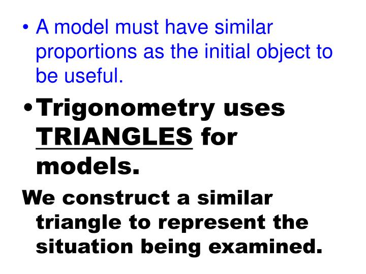 A model must have similar proportions as the initial object to be useful.