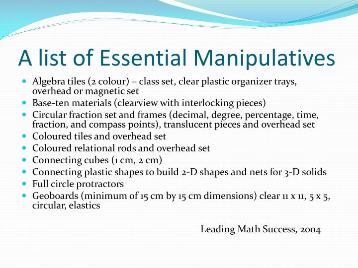 A list of Essential Manipulatives