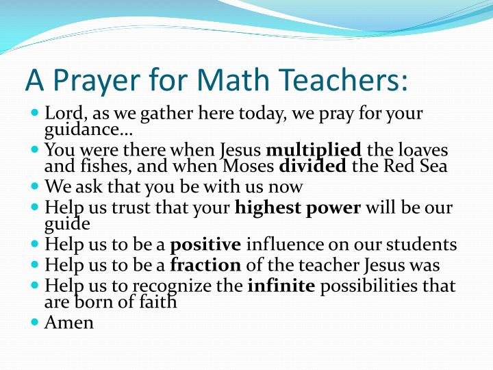 A prayer for math teachers
