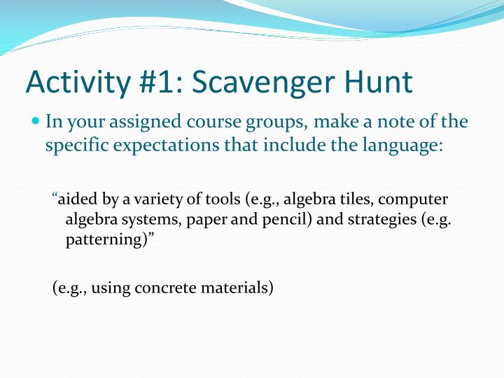 Activity #1: Scavenger Hunt