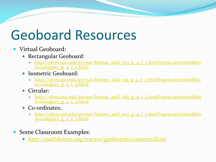Geoboard Resources