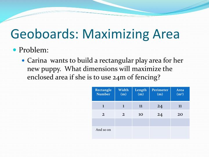 Geoboards: Maximizing Area