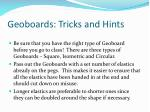 geoboards tricks and hints