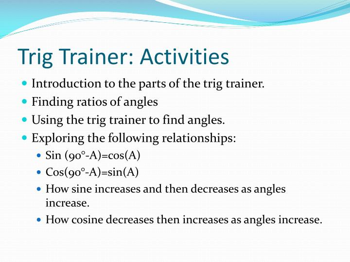 Trig Trainer: Activities