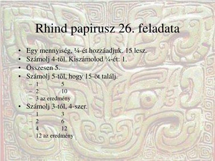 Rhind papirusz 26. feladata