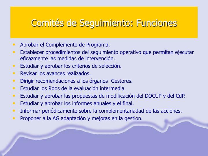 Comités de Seguimiento: Funciones