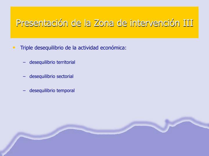 Presentación de la Zona de intervención III